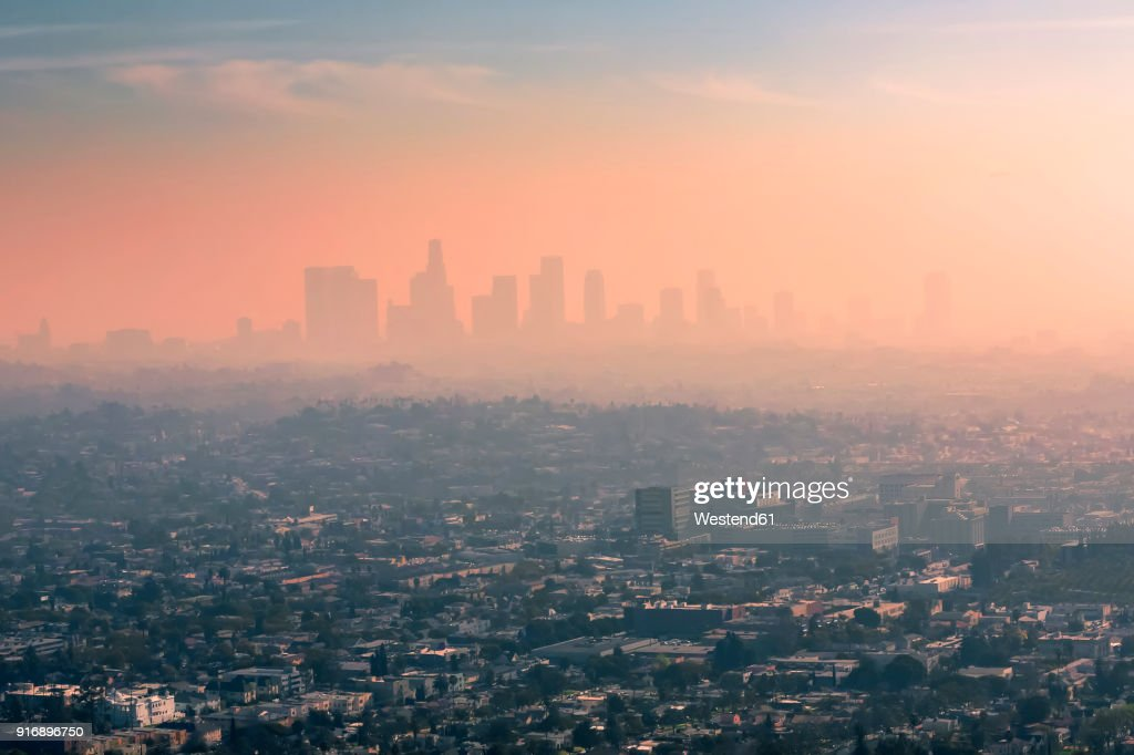 USA, California, Los Angeles, smog over Los Angeles : Stock Photo