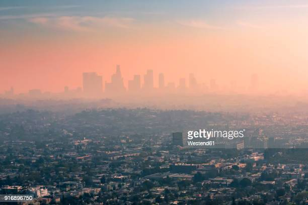 usa, california, los angeles, smog over los angeles - climate change stock pictures, royalty-free photos & images