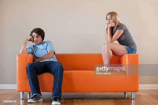 USA, California, Los Angeles, Young couple sitting on sofa