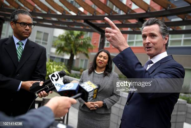 California Lt Gov and California gubernatorial candidate Gavin Newsom and San Francisco mayor London Breed talk with members of the media as he...