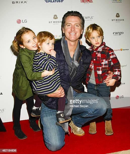 California Lt Governor Gavin Newsom and daughter Montana Newsom Brooklyn Newsom and son Hunter Newsom attend St Regis Rand Luxury Host Film Reception...