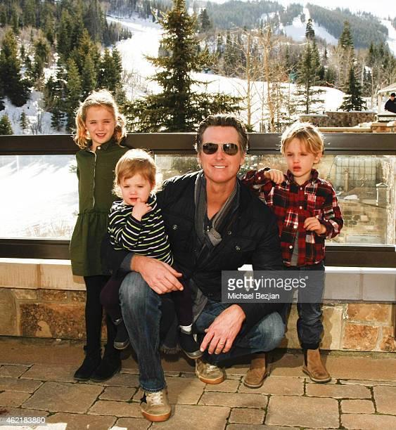 California Lt Governor Gavin Newsom and daughters Montana Newsom Brooklyn Newsom and son Hunter Newsom attend St Regis Rand Luxury Host Film...