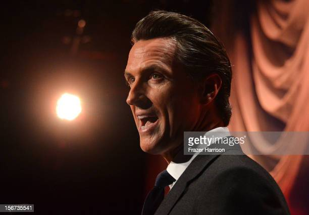 California Lt Governor Gavin Newsom on stage at the The Saban Free Clinic's Gala Honoring ABC Entertainment Group President Paul Lee And Bob Broder...