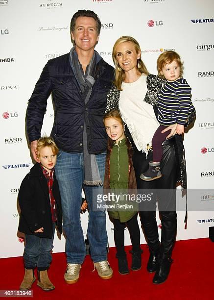 California Lt Governor Gavin Newsom Producer Jennifer Newsom daughters Montana Newsom Brooklyn Newsom and son Hunter Newsom attend St Regis Rand...