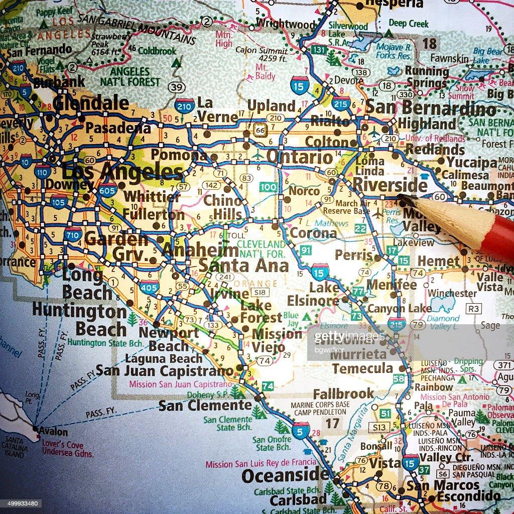 California Map With San Bernardino And Los Angeles Stock Photo ... on