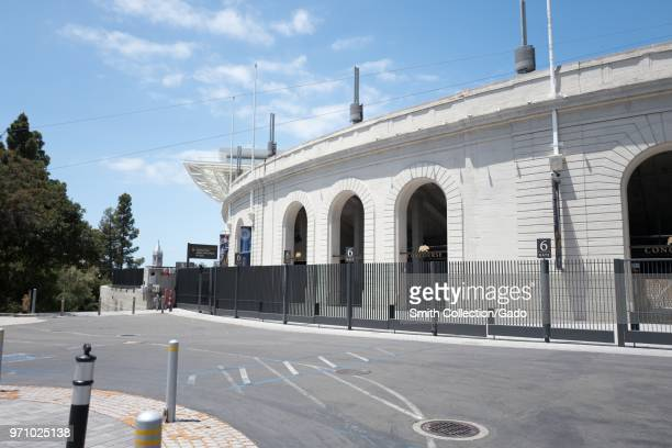 California Memorial Stadium at UC Berkeley in Berkeley, California, the home of the Cal State Bears football team, with Sather Tower partially...