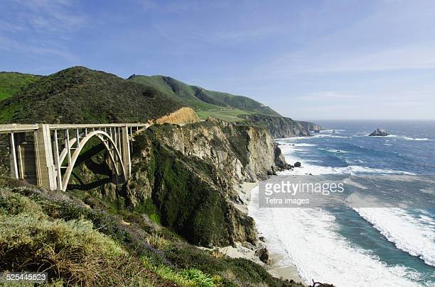 usa, california, monterey, big sur, coastline with bridge - monterrey stock photos and pictures