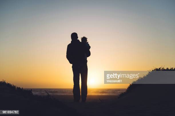 usa, california, morro bay, silhouettes of father and baby enjoying sunset on the beach - daughters of darkness stock pictures, royalty-free photos & images