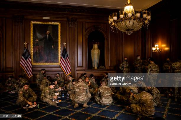 California National Guard troops enjoy breakfast that was provided by House Minority Leader Kevin McCarthy as a show of gratitude in the Rayburn Room...