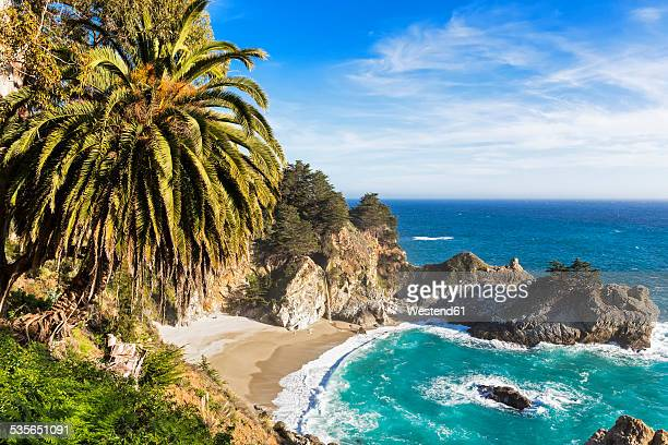 usa, california, pacific coast, national scenic byway, big sur, mcway falls and mcway cove, julia pfeiffer burns state park - big sur stock photos and pictures