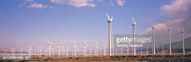 usa, california, palm springs, field of wind turbines, panoramic view - timothy hearsum stock pictures, royalty-free photos & images
