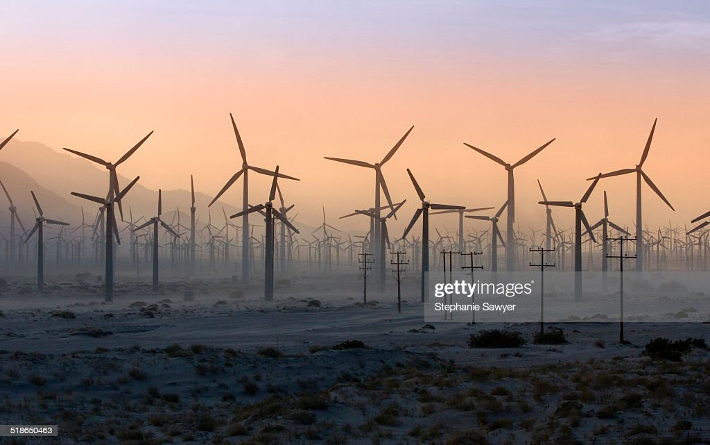 California, Palm Springs Wind Turbines in desert : Stock Photo