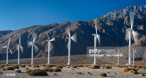USA, California, Palm Springs, Wind turbines on desert