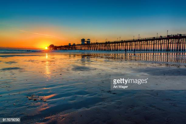 california pier at sunset - california stock pictures, royalty-free photos & images