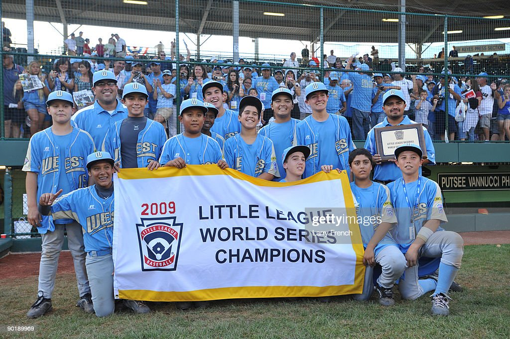 California (Chula Vista) players celebrate their victory against Asia Pacific (Taoyuan, Taiwan) after the game after the little league world series final at Lamade Stadium on August 30, 2009 in Williamsport, Pennsylvania.