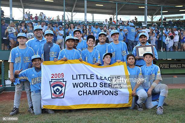 California players celebrate their victory against Asia Pacific after the game after the little league world series final at Lamade Stadium on August...