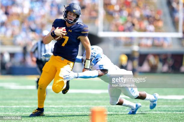 California quarterback Chase Garbers carries the ball during the California Golden Bears game versus the North Carolina Tar Heels on September 1 at...