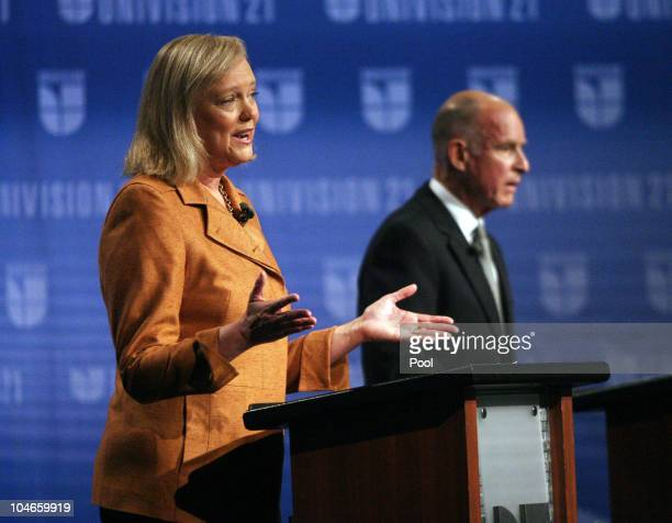 California Republican gubernatorial candidate and former eBay CEO Meg Whitman addresses an issue while her opponent California attorney general and...