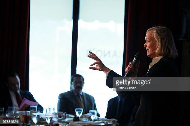 California Republican gubernatorial candidate and former eBay CEO Meg Whitman speaks to the Greater San Jose Hispanic Chamber of Commerce March 18...