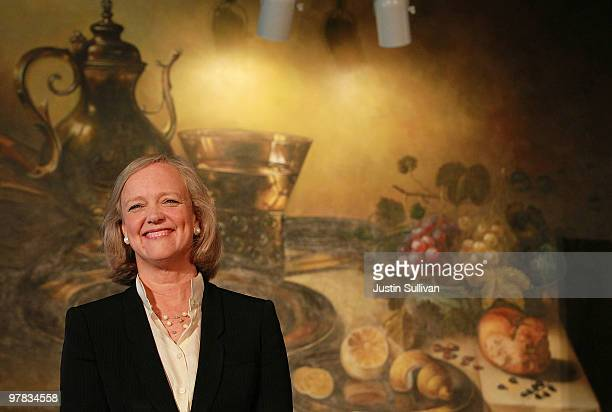 California Republican gubernatorial candidate and former eBay CEO Meg Whitman smiles as she speaks to the Greater San Jose Hispanic Chamber of...
