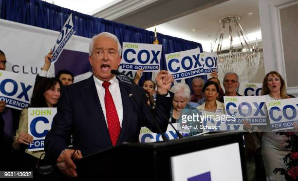 SAN DIEGO CALIF TUESDAY JUNE 5 2018 California Republican gubernatorial candidate John Cox addresses supporters at his California Primary election...