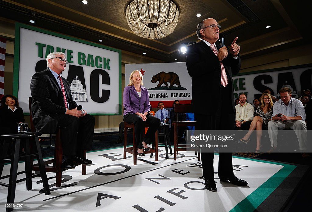 Rudy Giuliani Campaigns With CA GOP Gubernatorial Candidate Meg Whitman : News Photo