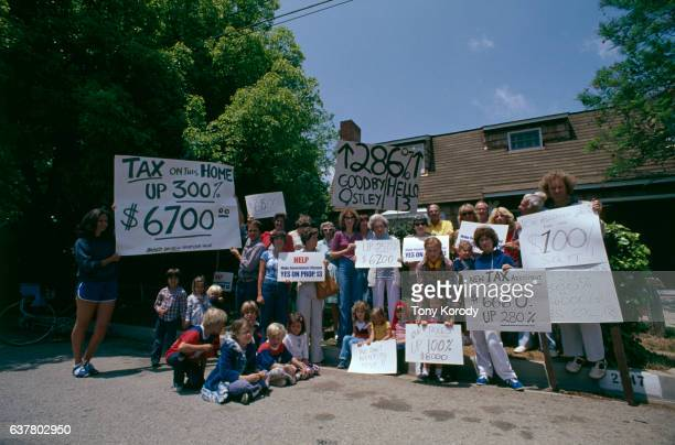 California residents gather in support of Propostion 13 which among other things proposes a cap on property tax rates The initiative passed by a...