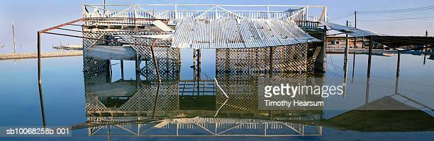 usa, california, salton sea, ruined boat house - timothy hearsum stock photos and pictures