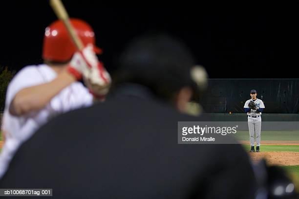 usa, california, san bernardino, baseball game, umpires view of batter awaiting pitch - baseball catcher stock photos and pictures