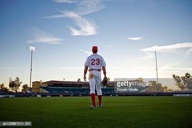 USA, California, San Bernardino, baseball outfielder looking towards diamond