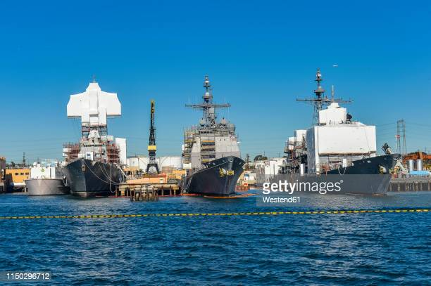 usa, california, san diego, harbour, warship - moored stock pictures, royalty-free photos & images