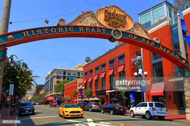 usa, california, san diego. historic town centre. gaslamp quarter - san diego stock pictures, royalty-free photos & images