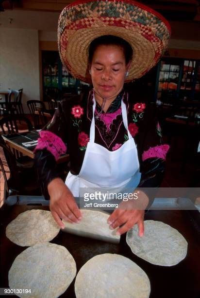 California, San Diego, Old Town, Coyote Cantina, making homemade tortillas.