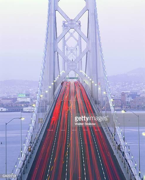 usa, california, san francisco, bay bridge, traffic, elevated view - bay bridge stock pictures, royalty-free photos & images