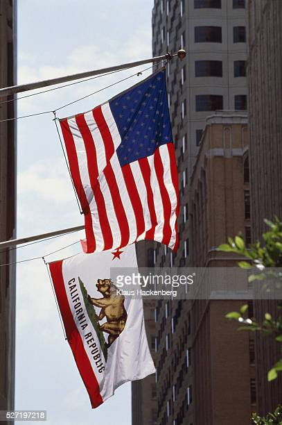 USA, California, San Francisco, building with flags