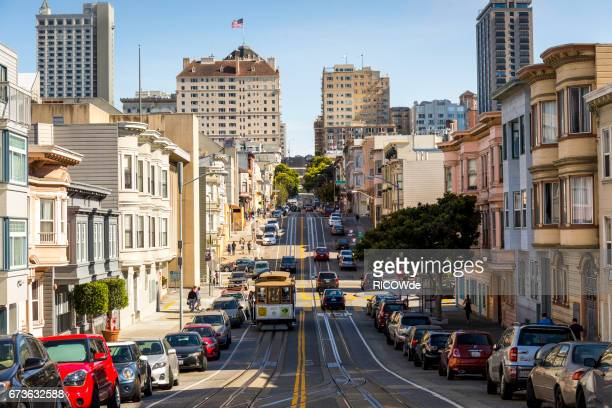 usa, california, san francisco, cable car - san francisco california stock photos and pictures