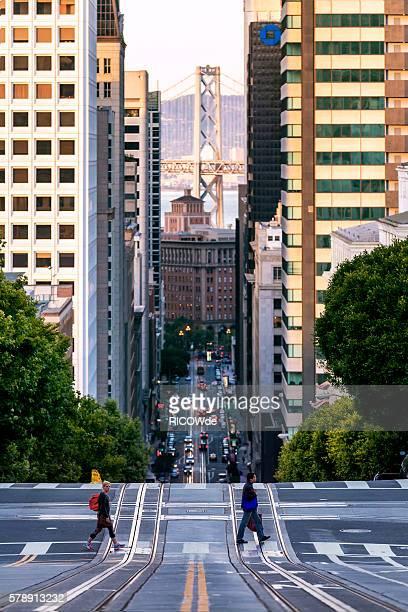 USA, California, San Francisco, California Street and Bay Bridge