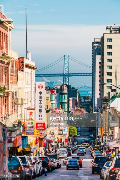 usa, california, san francisco, chinatown, bay bridge - chinatown stock pictures, royalty-free photos & images