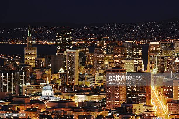 USA, California, San Francisco, city skyline at night, elevated view