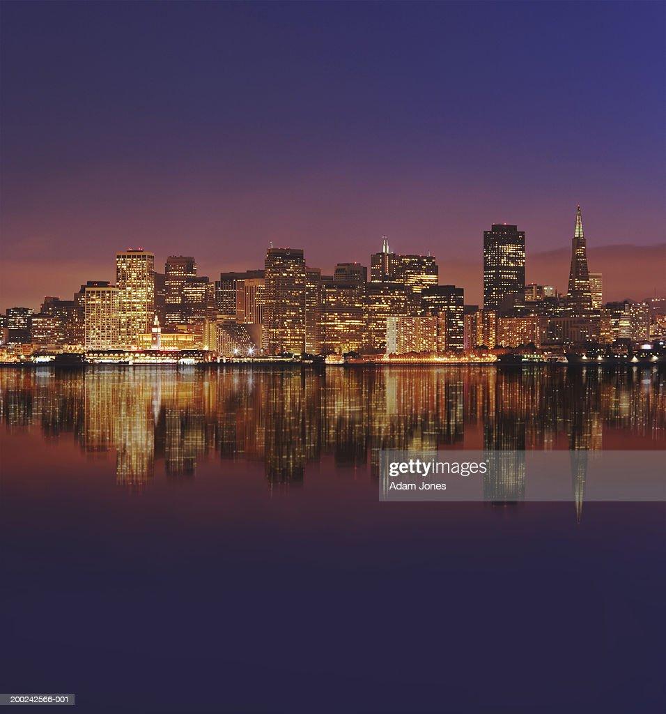 USA, California, San Francisco, city skyline, dusk (Digital Composite) : Stock Photo