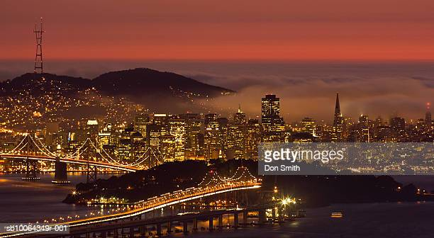 usa, california, san francisco, cityscape with summer fog, dusk - don smith stock photos and pictures