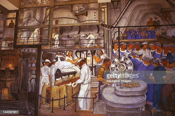 California San Francisco Coit Tower WPA Mural Depicting Factory Workers