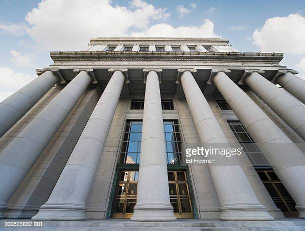 usa, california, san francisco, federal reserve bank, low angle view with wide-angle lens - federal reserve stock pictures, royalty-free photos & images