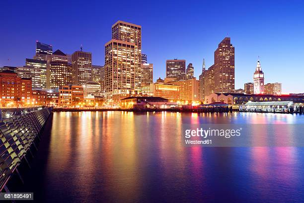 USA, California, San Francisco, Financial District, Embarcadero and Ferry Building at blue hour