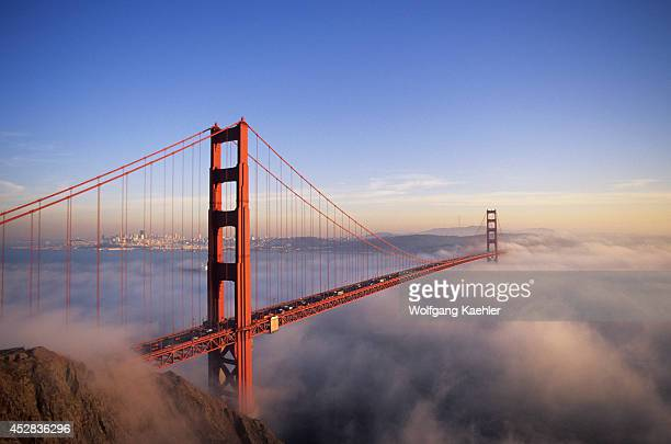 USA California San Francisco Golden Gate Bridge With Fog Rolling In