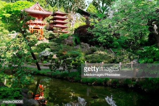 Usa California San Francisco Golden Gate Park Japanese Tea Garden Buddhist Temple Stock Photo