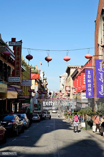 USA, California, San Francisco, Grant Avenue in Chinatown with Chinese lanterns
