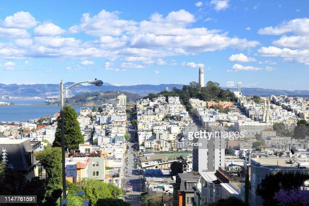 California, San Francisco: overview of Lombard Street, Russian Hill District and the Coit Tower.
