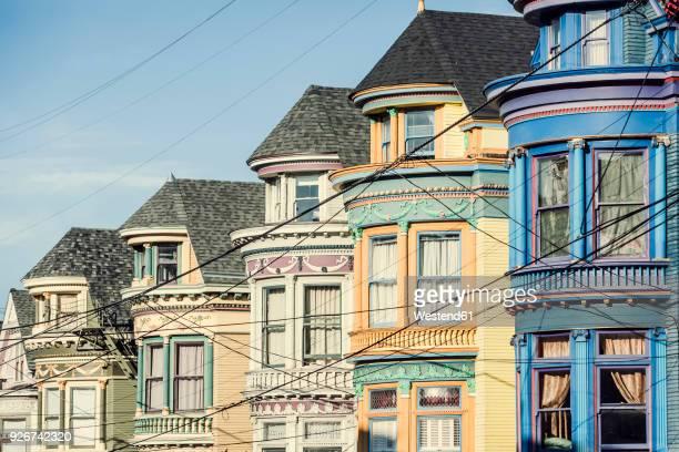 usa, california, san francisco, row of houses - san francisco stock-fotos und bilder