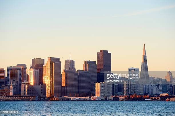 USA, California, San Francisco, skyline of financial district with Transamerica Pyramid in morning light